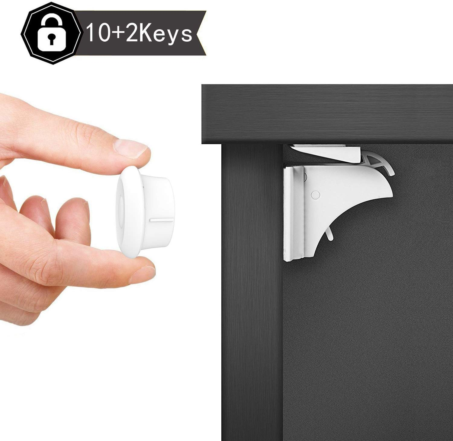 Safety concealed Magnetic Cabinet Locks-No Drilling-2 Locks+1 key